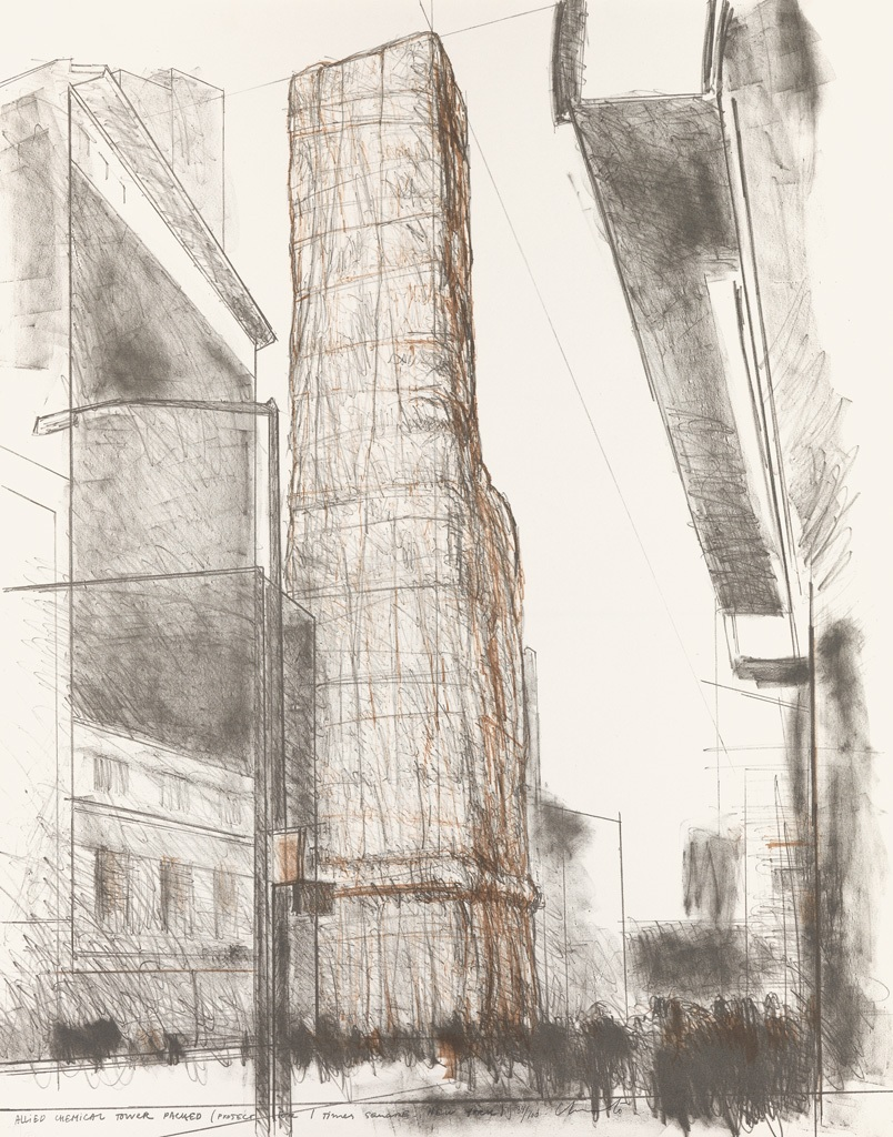 Christo - Allied Chemical Tower, Packed, Project for Number 1, Times Square, New York from the portfolio (Some) Not Realized Projects